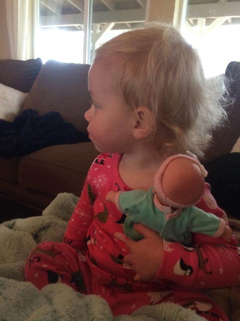 Aubrey with new doll