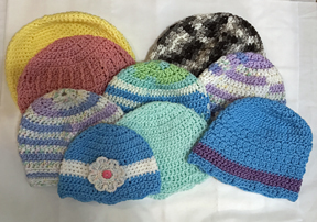 Colorful hats on their way to the Hat Box Foundation to be distributed to hospitals across the country.